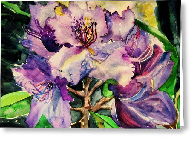 Rhododendron Violet Greeting Card by Mindy Newman