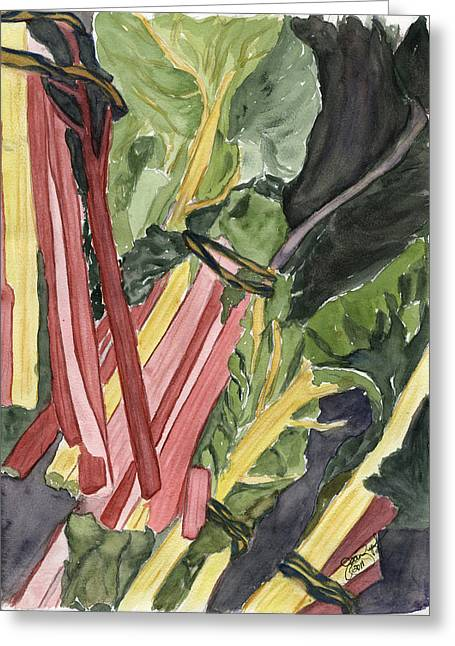 Rhubarb Study Greeting Card