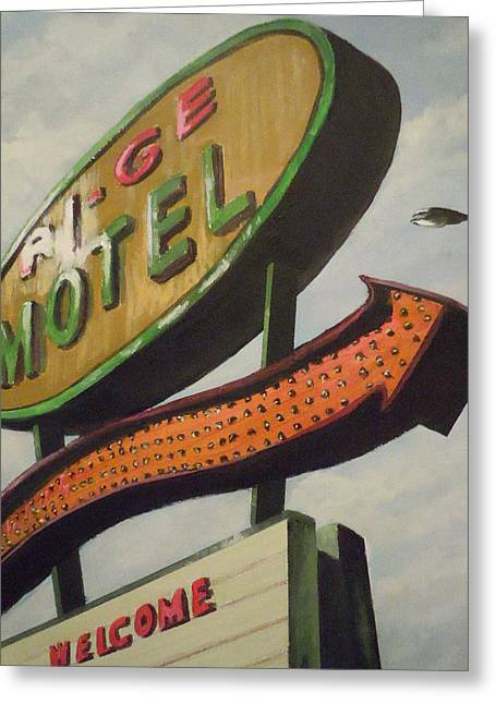 Greeting Card featuring the painting Ri-ge Motel by James Guentner