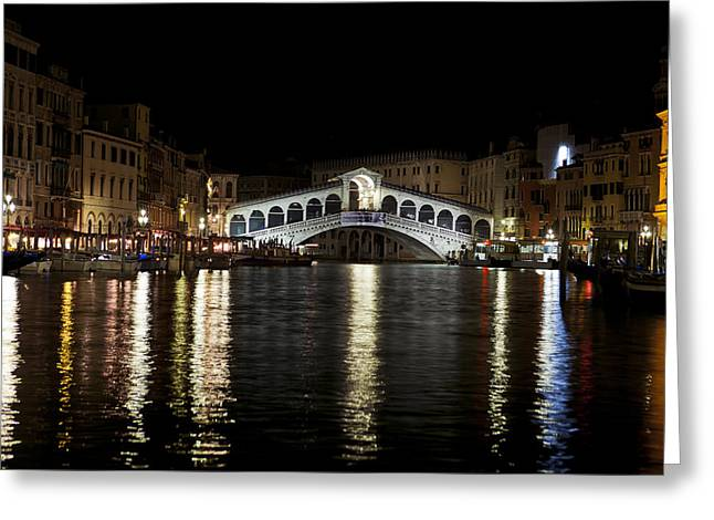 Rialto Bridge At Night Greeting Card