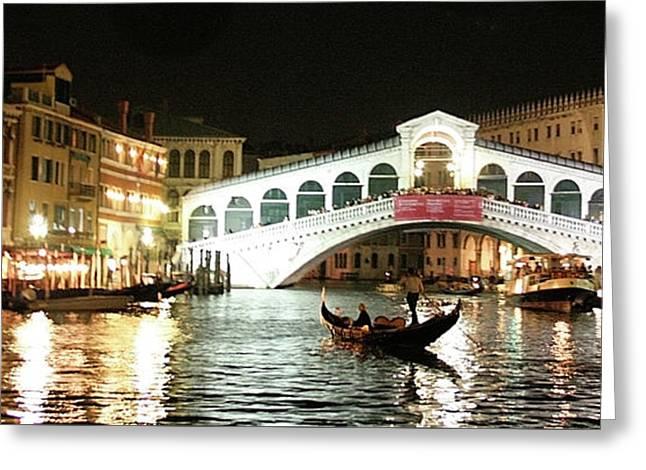 Rialto Bridge Night Scene Greeting Card