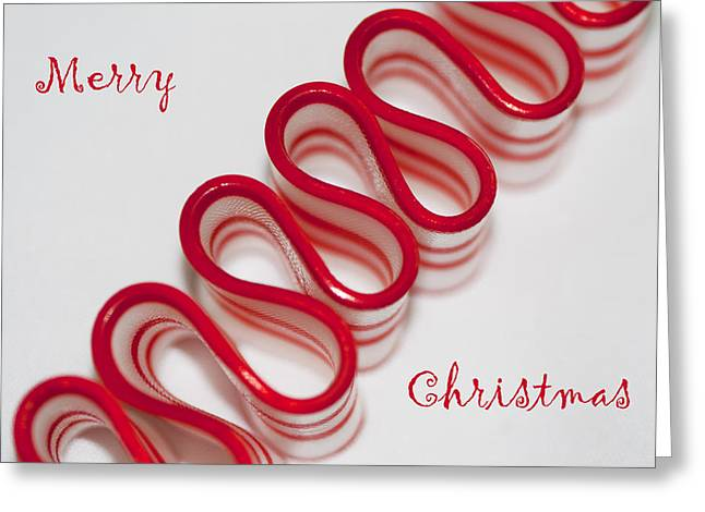 Ribbon Candy Peppermint Merry Christmas Greeting Card by Kathy Clark