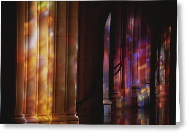 Rich Color Projected From Stained Glass Greeting Card by Stephen St. John