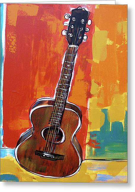 Greeting Card featuring the painting Richard's Guitar 2 by John Gibbs