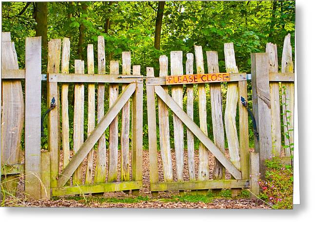 Rickety Gate Greeting Card by Tom Gowanlock