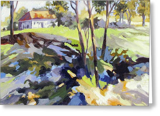 Greeting Card featuring the painting Ridgetop Homestead by Rae Andrews