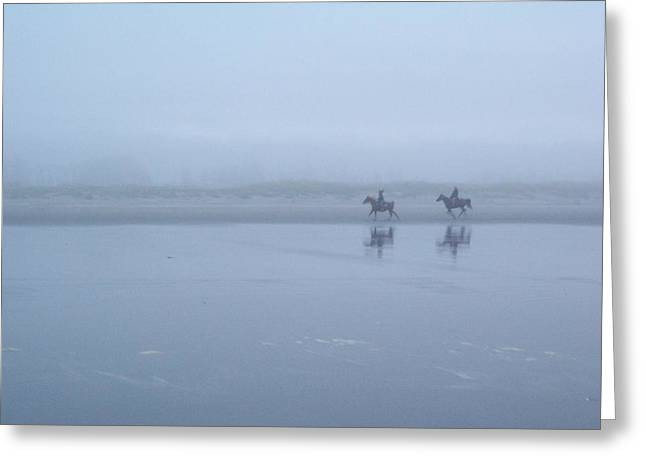 Riding In The Mist Greeting Card by Peter Mooyman