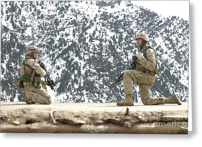 Riflemen Provide Security On A Rooftop Greeting Card