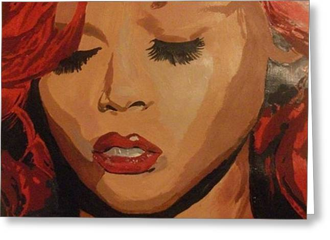 Greeting Card featuring the painting Rihanna by Cherise Foster