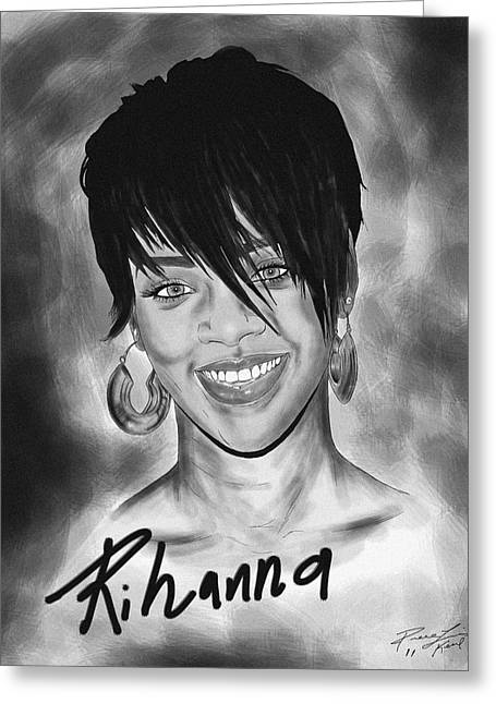 Rihanna Smiles Greeting Card by Kenal Louis