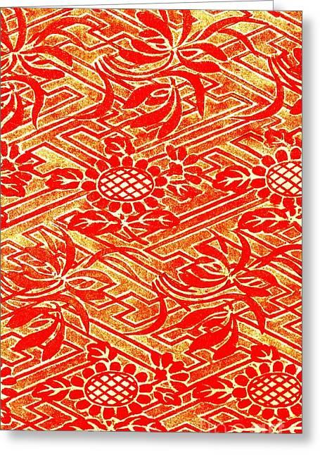 Rinzu Figured Satin Print 1825 Greeting Card by Padre Art