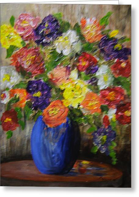 Riot Of Flowers Greeting Card by Maureen Pisano