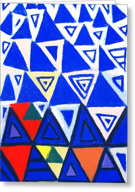 Rising Blue Triangles Greeting Card by Kazuya Akimoto