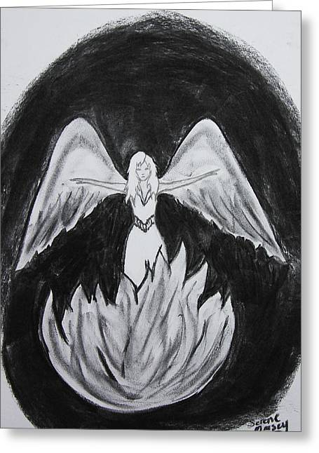 Greeting Card featuring the drawing Rising From The Flames by Serene Maisey