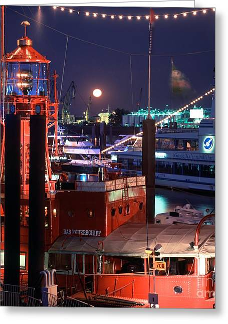 Rising Moon Over Lightship Greeting Card by Serge Fourletoff