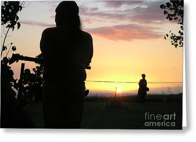 Ritual Sunset Greeting Card by Silvie Kendall