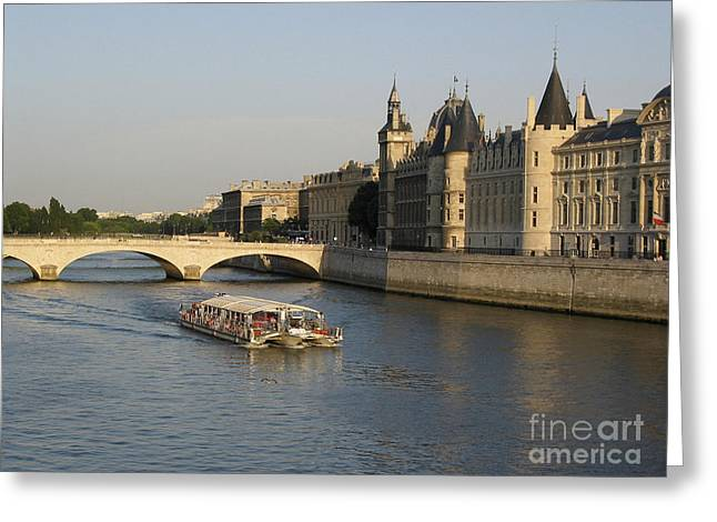 River Seine And Conciergerie. Paris Greeting Card by Bernard Jaubert
