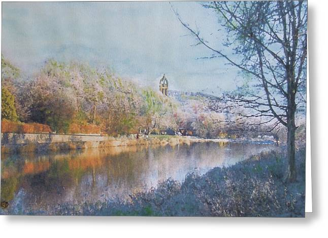 River Walk Reflections Peebles Greeting Card