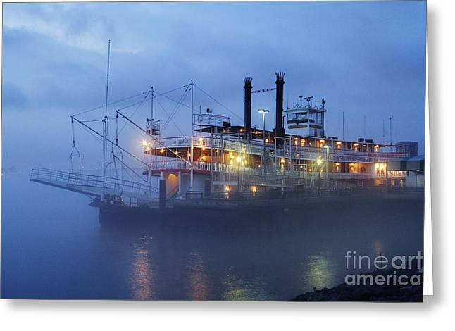 Riverboat At Night Greeting Card by Jeremy Woodhouse