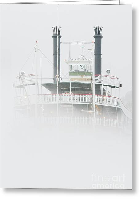 Riverboat In The Fog Greeting Card by Jeremy Woodhouse