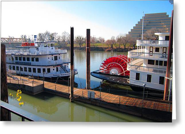 Riverboats Greeting Card by Barry Jones