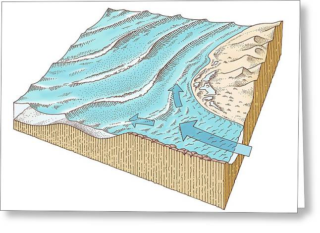 Rivermouth Wave Formation, Artwork Greeting Card by Gary Hincks