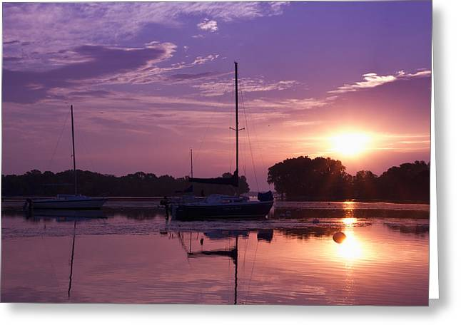 Riverside Park Sunrise Greeting Card by Joel Witmeyer
