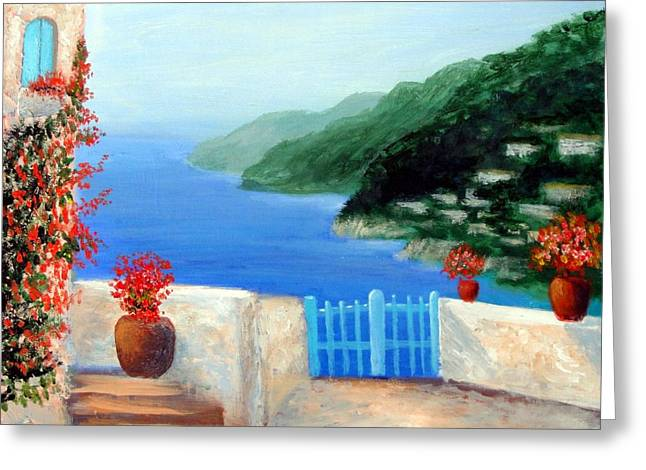 Greeting Card featuring the painting Riviera by Larry Cirigliano