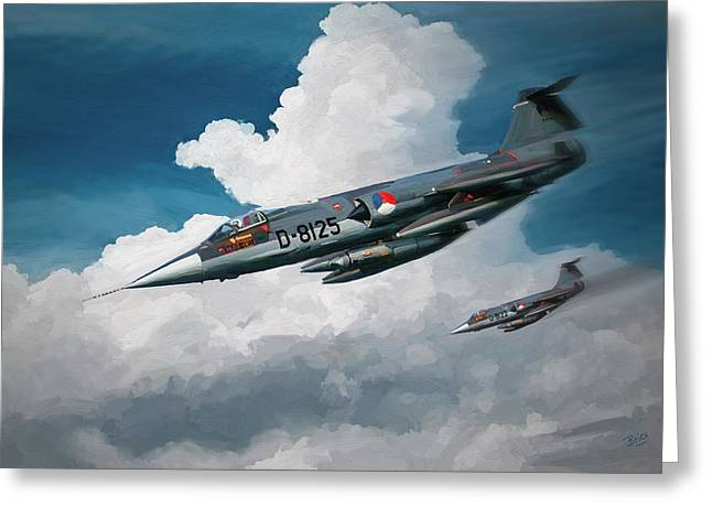 Greeting Card featuring the painting Rnlaf Lockheed F104 Starfighters On Training by Nop Briex