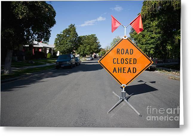 Road Closed Sign Greeting Card