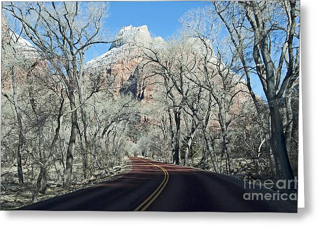 Greeting Card featuring the photograph Road Through Zion Canyon by Bob and Nancy Kendrick