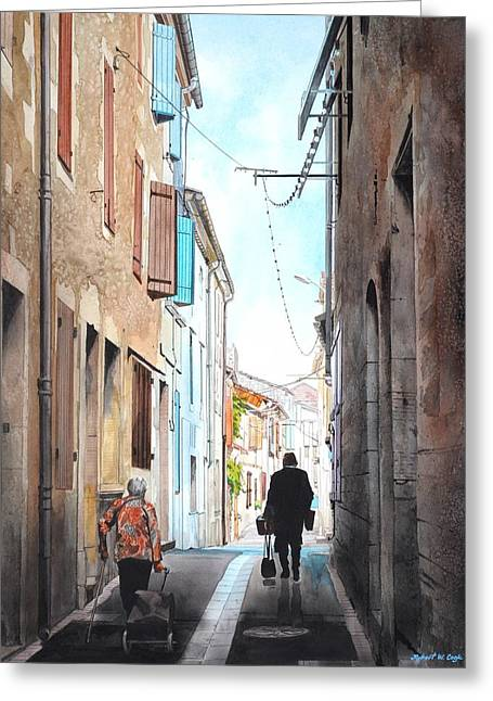 Road To Market In Gascony Greeting Card