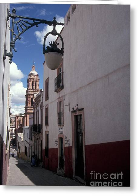 Greeting Card featuring the photograph Road To The Cathedral Zacatecas Mexico by John  Mitchell