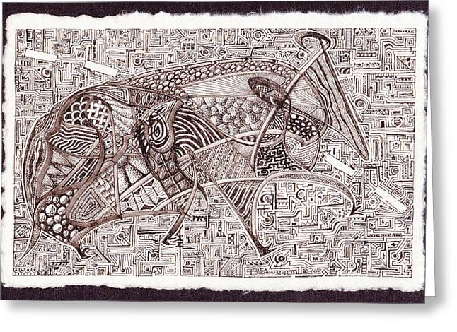 Roadkill Petroglyph Greeting Card by Buck Buchheister