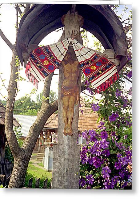 Roadside Crucifix V Greeting Card by Emanuel Tanjala