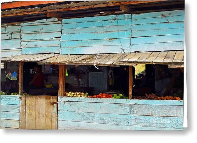 Roadside Fruit Stand- Belize Greeting Card by Li Newton