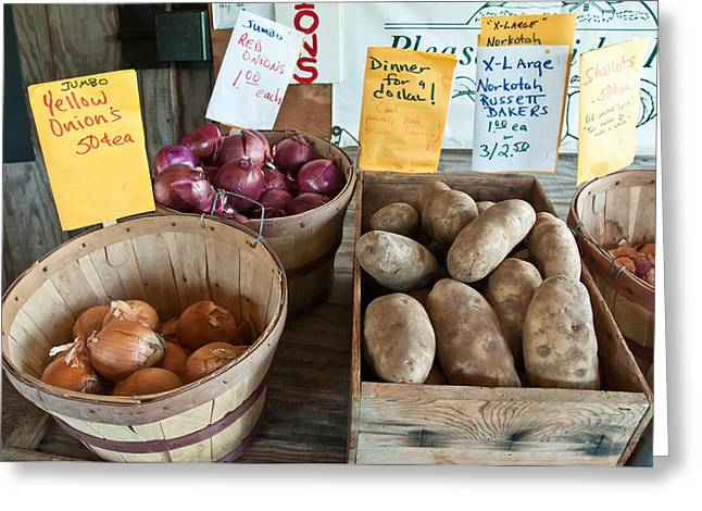 Roadside Produce Stand Onions Potatoes Shallots Greeting Card by Denise Lett