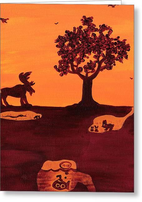 Roaming Moose Greeting Card by Jera Sky