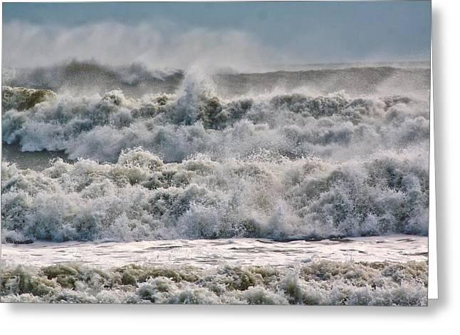Roaring Sea Greeting Card by Nancie Rowan