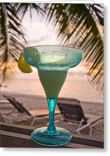 Roatans West Bay, Tropical Drink Greeting Card by Richard Nowitz
