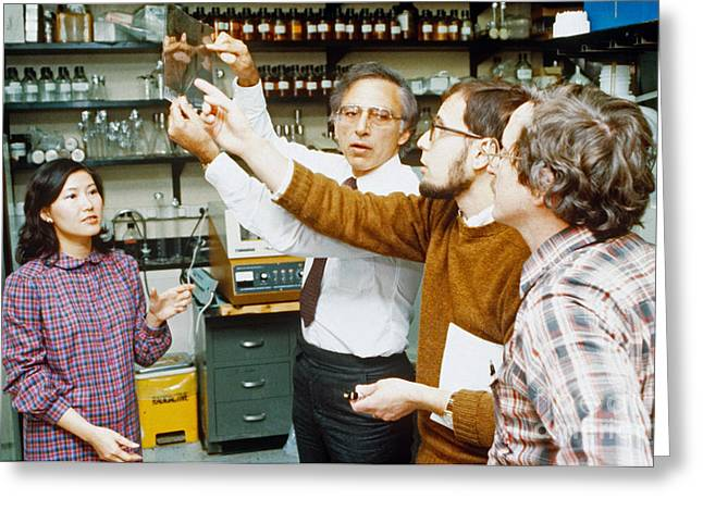 Robert Gallo And Colleagues Greeting Card by Science Source