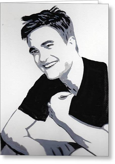 Greeting Card featuring the painting Robert Pattinson 1 by Audrey Pollitt
