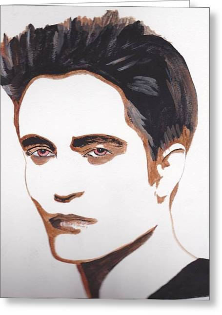 Greeting Card featuring the painting Robert Pattinson 12 by Audrey Pollitt
