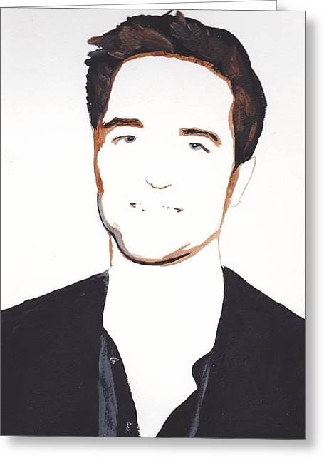 Greeting Card featuring the painting Robert Pattinson 13 by Audrey Pollitt