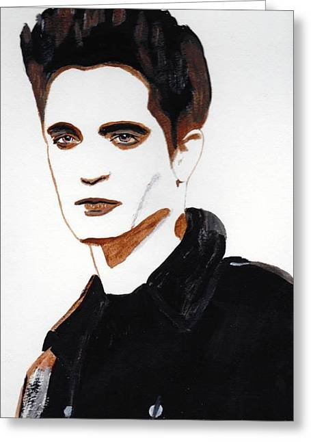 Greeting Card featuring the painting Robert Pattinson 15 by Audrey Pollitt