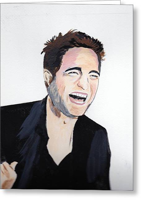 Greeting Card featuring the painting Robert Pattinson 4 by Audrey Pollitt