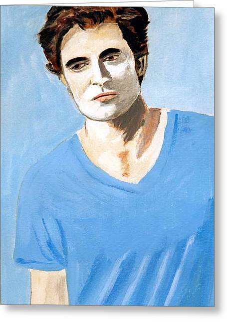 Greeting Card featuring the painting Robert Pattinson 6 by Audrey Pollitt