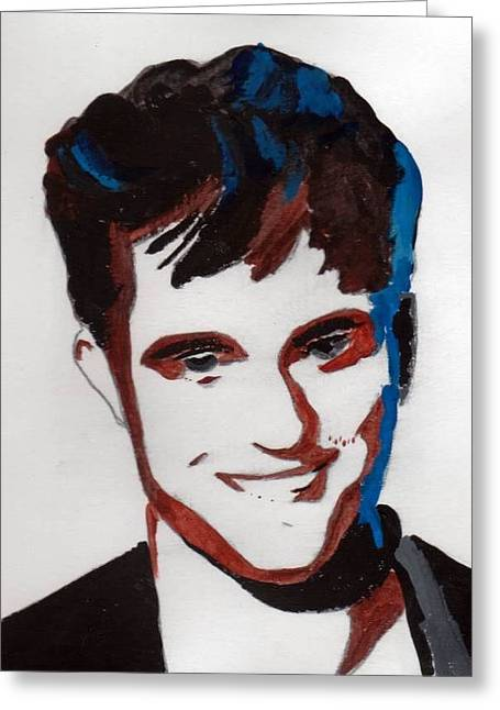 Greeting Card featuring the painting Robert Pattinson 7 by Audrey Pollitt