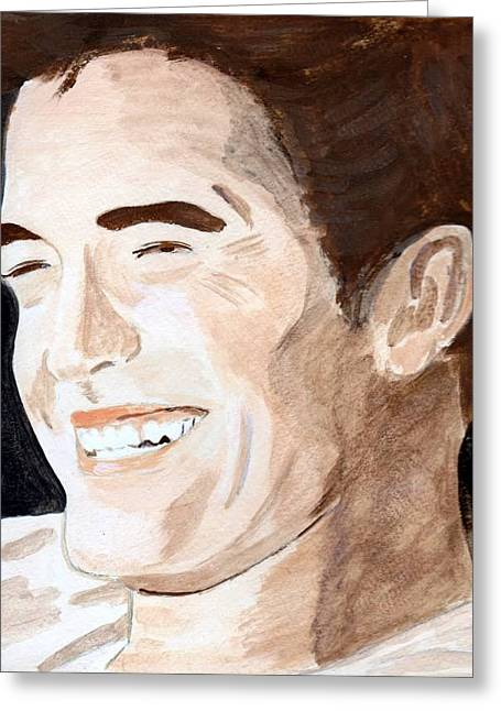 Greeting Card featuring the painting Robert Pattinson 8 by Audrey Pollitt