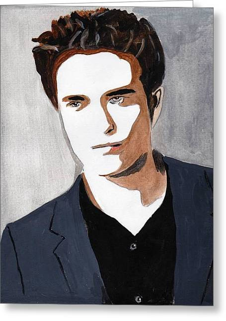 Greeting Card featuring the painting Robert Pattinson 9 by Audrey Pollitt